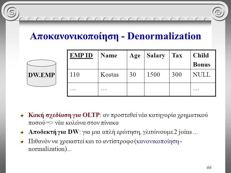 66 Αποκανονικοποίηση - Denormalization EMP IDNameAgeSalaryTaxChild Bonus 110Kostas301500300NULL ……… DW.EMP Κακή σχεδίαση για OLTP: αν προστεθεί νέα κα