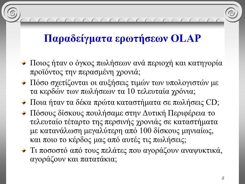 9 Λειτουργικά χαρακτηριστικά απαιτήσεων OLAP Πρόσβαση σε μεγάλο όγκο δεδομένων Συμμετοχή αθροιστικών και ιστορικών δεδομένων σε πολύπλοκες ερωτήσεις Μεταβολή της «οπτικής γωνίας» παρουσίασης των δεδομένων (π.χ., από πωλήσεις ανά περιοχή -> πωλήσεις ανά τμήμα κλπ.) Συμμετοχή πολύπλοκων υπολογισμών (π.χ.