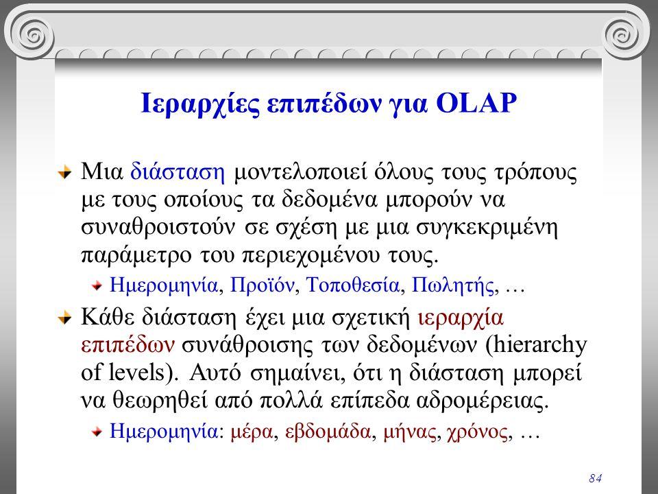 84 Ιεραρχίες επιπέδων για OLAP Μια διάσταση μοντελοποιεί όλους τους τρόπους με τους οποίους τα δεδομένα μπορούν να συναθροιστούν σε σχέση με μια συγκε