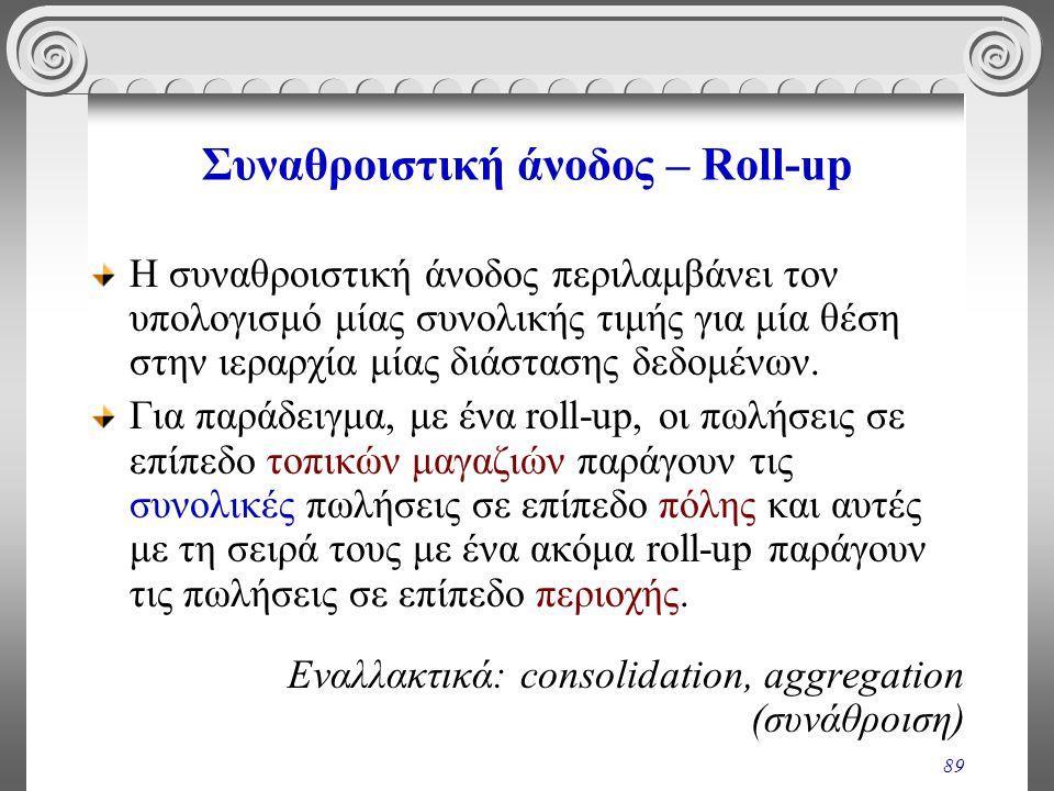 89 Συναθροιστική άνοδος – Roll-up Η συναθροιστική άνοδος περιλαμβάνει τον υπολογισμό μίας συνολικής τιμής για μία θέση στην ιεραρχία μίας διάστασης δε