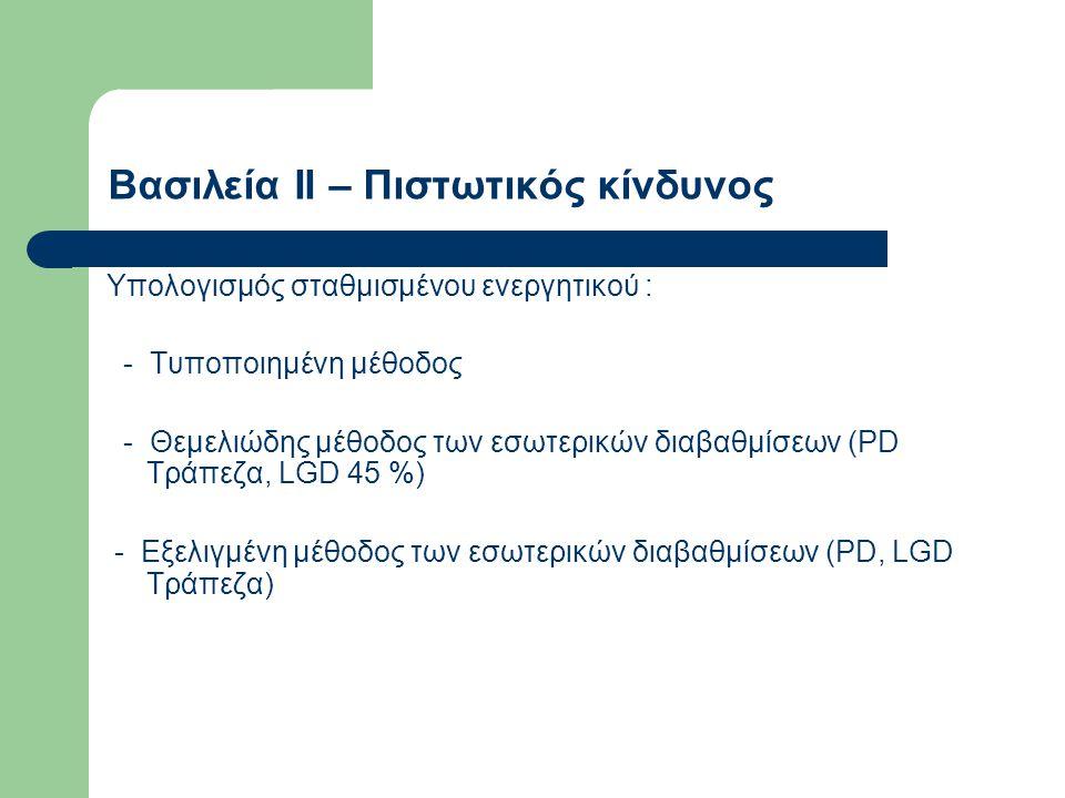 Τυποποιημένη μέθοδος Έμφαση πάλι στα καλύμματα -Δάνεια καλυμμένα με κατοικίες (LTV < 75 %) : στάθμιση 35 % (αντί 50 % της Βασιλείας Ι) -Μικρές επιχειρήσεις (όριο < € 1 εκατ.) : στάθμιση 75 % (αντί 100 %) -Καθυστερημένες οφειλές: στάθμιση 100% ή 150 % (αντί 100 %)