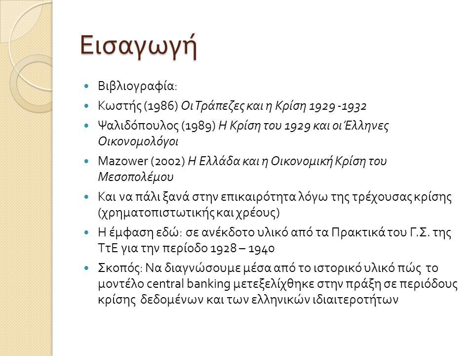 Εισαγωγή  Βιβλιογραφία:  Κωστής (1986) Οι Τράπεζες και η Κρίση 1929 -1932  Ψαλιδόπουλος (1989) Η Κρίση του 1929 και οι Έλληνες Οικονομολόγοι  Mazo