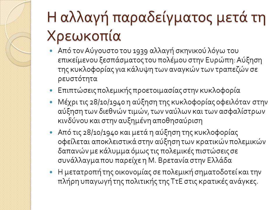 Η αλλαγή παραδείγματος μετά τη Χρεωκοπία  Από τον Αύγουστο του 1939 αλλαγή σκηνικού λόγω του επικείμενου ξεσπάσματος του πολέμου στην Ευρώπη : Αύξηση της κυκλοφορίας για κάλυψη των αναγκών των τραπεζών σε ρευστότητα  Επιπτώσεις πολεμικής προετοιμασίας στην κυκλοφορία  Μέχρι τις 28/10/1940 η αύξηση της κυκλοφορίας οφειλόταν στην αύξηση των διεθνών τιμών, των ναύλων και των ασφαλίστρων κινδύνου και στην αυξημένη αποθησαύριση  Από τις 28/10/1940 και μετά η αύξηση της κυκλοφορίας οφείλεται αποκλειστικά στην αύξηση των κρατικών πολεμικών δαπανών με κάλυμμα όμως τις πολεμικές πιστώσεις σε συνάλλαγμα που παρείχε η Μ.