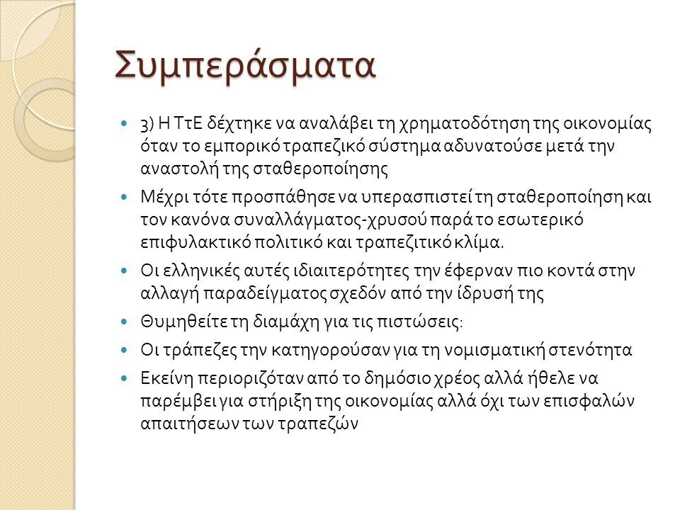 Συμπεράσματα  3) Η ΤτΕ δέχτηκε να αναλάβει τη χρηματοδότηση της οικονομίας όταν το εμπορικό τραπεζικό σύστημα αδυνατούσε μετά την αναστολή της σταθερ