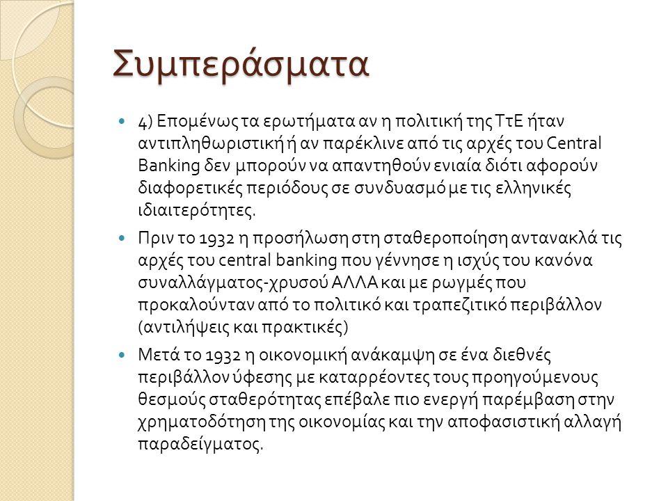 Συμπεράσματα  4) Επομένως τα ερωτήματα αν η πολιτική της ΤτΕ ήταν αντιπληθωριστική ή αν παρέκλινε από τις αρχές του Central Banking δεν μπορούν να απ