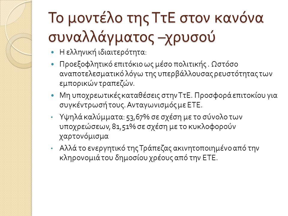 Το μοντέλο της ΤτΕ στον κανόνα συναλλάγματος – χρυσού  Η ελληνική ιδιαιτερότητα :  Προεξοφλητικό επιτόκιο ως μέσο πολιτικής. Ωστόσο αναποτελεσματικό
