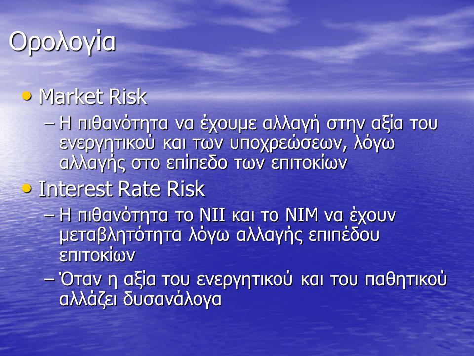 Ορολογία • Market Risk –Η πιθανότητα να έχουμε αλλαγή στην αξία του ενεργητικού και των υποχρεώσεων, λόγω αλλαγής στο επίπεδο των επιτοκίων • Interest