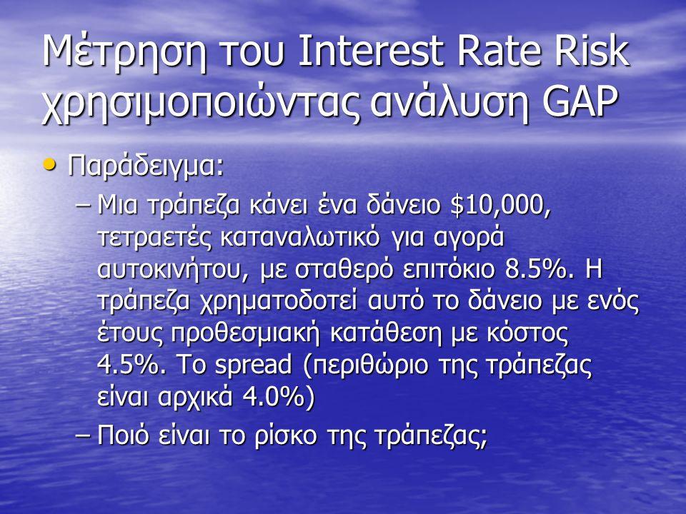 Μέτρηση του Interest Rate Risk χρησιμοποιώντας ανάλυση GAP • Παράδειγμα: –Μια τράπεζα κάνει ένα δάνειο $10,000, τετραετές καταναλωτικό για αγορά αυτοκ
