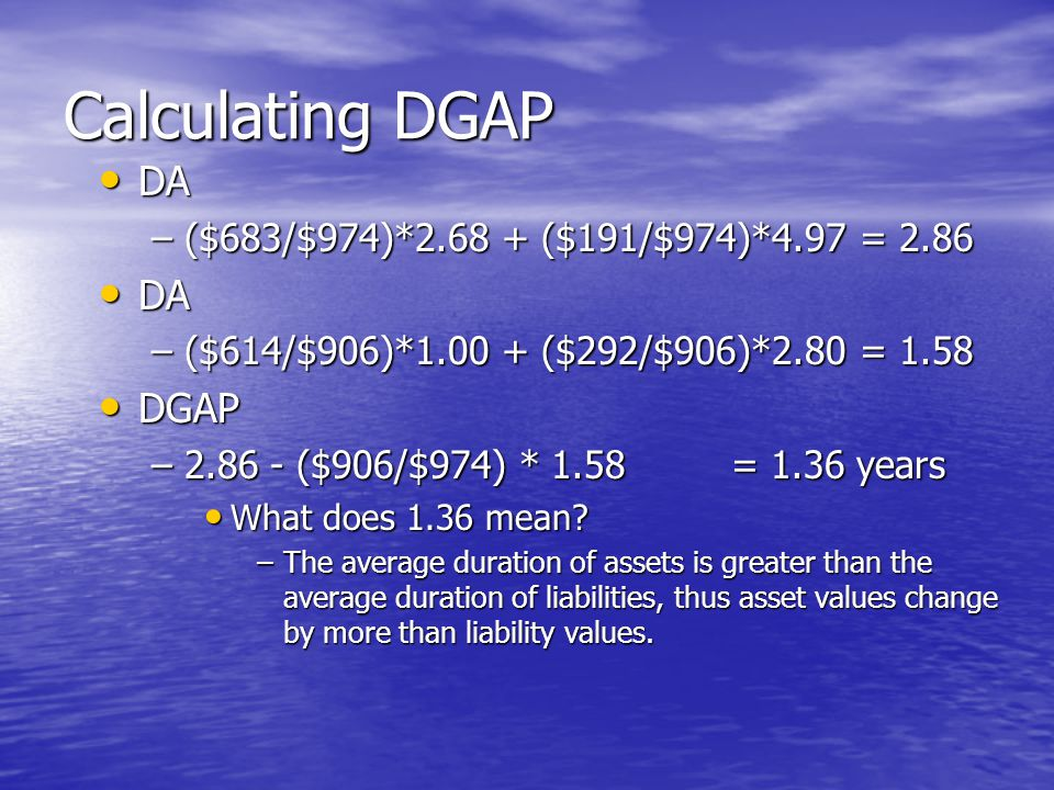 Calculating DGAP • DA –($683/$974)*2.68 + ($191/$974)*4.97 = 2.86 • DA –($614/$906)*1.00 + ($292/$906)*2.80 = 1.58 • DGAP –2.86 - ($906/$974) * 1.58= 1.36 years • What does 1.36 mean.