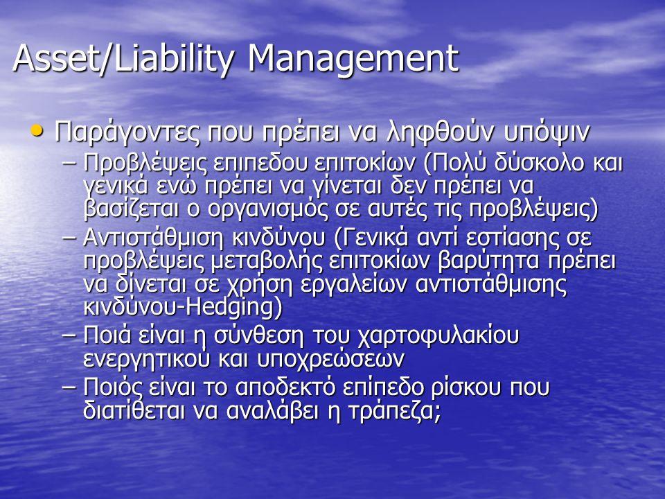 Asset/Liability Management • Παράγοντες που πρέπει να ληφθούν υπόψιν –Προβλέψεις επιπεδου επιτοκίων (Πολύ δύσκολο και γενικά ενώ πρέπει να γίνεται δεν