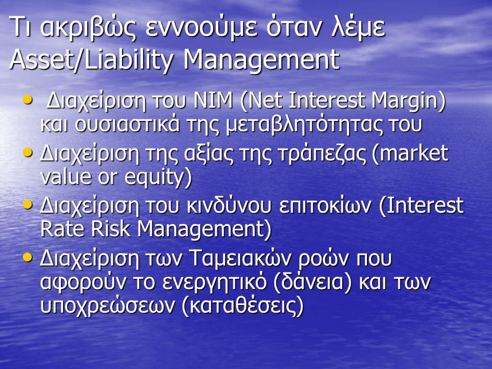 ALM (ΔΕΥ-Διαχείριση Ενεργητικού/Υποχρεώσεων) • Net Interest Income (ΝΙΙ)= Interest Income- Interest Expense • Net Interest Margin (ΝΙΜ)=Net Interest Income/Assets • Τόσο το ΝΙΙ όσο και το ΝΙΜ έχουν σημαντική μεταβλητότητα (volatility): H προοπτική της μεταβλητότητας του ΝΙΙ και του ΝΙΜ είναι η ουσία της διαχείρισης κινδύνου επιτοκίων (Interest Rate Risk) • GAP: αποτελεί μια μέτρηση του Interest Rate Risk