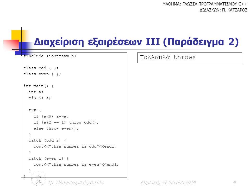 ΜΑΘΗΜΑ: ΓΛΩΣΣΑ ΠΡΟΓΡΑΜΜΑΤΙΣΜΟΥ C++ ΔΙΔΑΣΚΩΝ: Π.