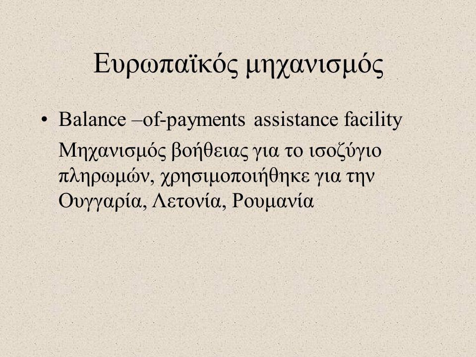 Ευρωπαϊκός μηχανισμός •Balance –of-payments assistance facility Μηχανισμός βοήθειας για το ισοζύγιο πληρωμών, χρησιμοποιήθηκε για την Ουγγαρία, Λετονία, Ρουμανία