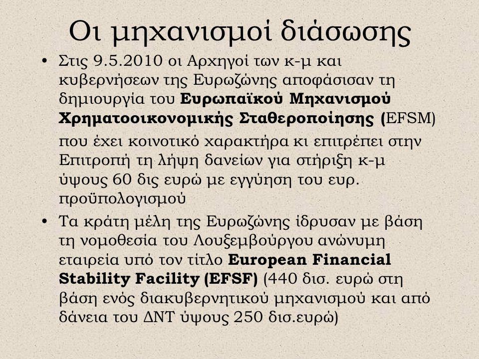 Οι μηχανισμοί διάσωσης •Στις 9.5.2010 οι Αρχηγοί των κ-μ και κυβερνήσεων της Ευρωζώνης αποφάσισαν τη δημιουργία του Ευρωπαϊκού Μηχανισμού Χρηματοοικονομικής Σταθεροποίησης ( EFSM) που έχει κοινοτικό χαρακτήρα κι επιτρέπει στην Επιτροπή τη λήψη δανείων για στήριξη κ-μ ύψους 60 δις ευρώ με εγγύηση του ευρ.