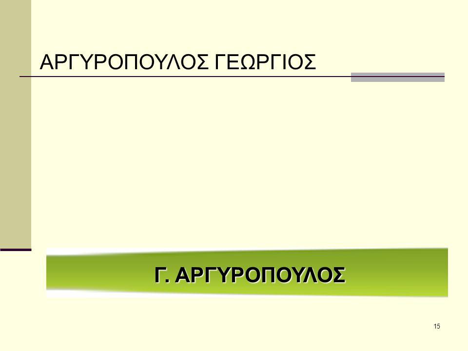 15 Γ. ΑΡΓΥΡΟΠΟΥΛΟΣ ΑΡΓΥΡΟΠΟΥΛΟΣ ΓΕΩΡΓΙΟΣ