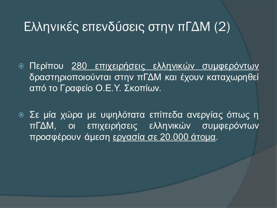 Ελληνικές επενδύσεις στην πΓΔΜ (2)  Περίπου 280 επιχειρήσεις ελληνικών συμφερόντων δραστηριοποιούνται στην πΓΔΜ και έχουν καταχωρηθεί από το Γραφείο Ο.Ε.Υ.