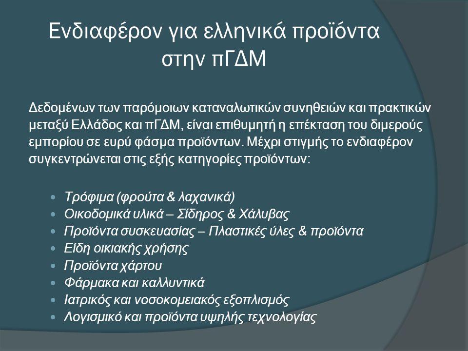 Ενδιαφέρον για ελληνικά προϊόντα στην πΓΔΜ Δεδομένων των παρόμοιων καταναλωτικών συνηθειών και πρακτικών μεταξύ Ελλάδος και πΓΔΜ, είναι επιθυμητή η επέκταση του διμερούς εμπορίου σε ευρύ φάσμα προϊόντων.