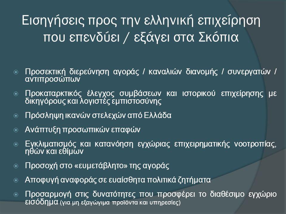 Εισηγήσεις προς την ελληνική επιχείρηση που επενδύει / εξάγει στα Σκόπια  Προσεκτική διερεύνηση αγοράς / καναλιών διανομής / συνεργατών / αντιπροσώπων  Προκαταρκτικός έλεγχος συμβάσεων και ιστορικού επιχείρησης με δικηγόρους και λογιστές εμπιστοσύνης  Πρόσληψη ικανών στελεχών από Ελλάδα  Ανάπτυξη προσωπικών επαφών  Εγκλιματισμός και κατανόηση εγχώριας επιχειρηματικής νοοτροπίας, ηθών και εθίμων  Προσοχή στο «ευμετάβλητο» της αγοράς  Αποφυγή αναφοράς σε ευαίσθητα πολιτικά ζητήματα  Προσαρμογή στις δυνατότητες που προσφέρει το διαθέσιμο εγχώριο εισόδημα (για μη εξαγώγιμα προϊόντα και υπηρεσίες)