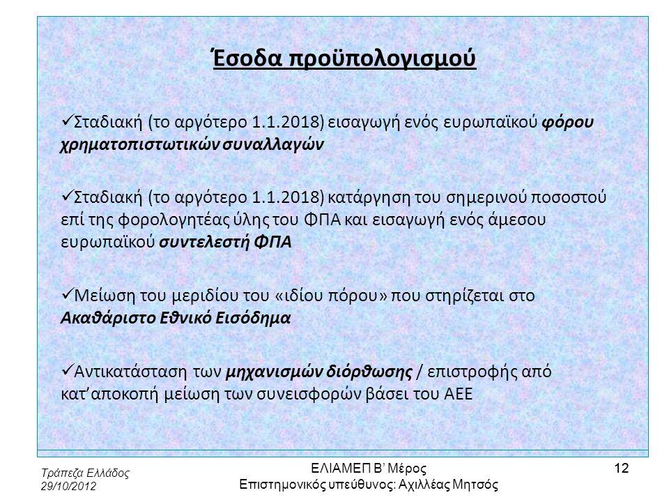 Τράπεζα Ελλάδος 29/10/2012 12 Έσοδα προϋπολογισμού  Σταδιακή (το αργότερο 1.1.2018) εισαγωγή ενός ευρωπαϊκού φόρου χρηματοπιστωτικών συναλλαγών  Στα