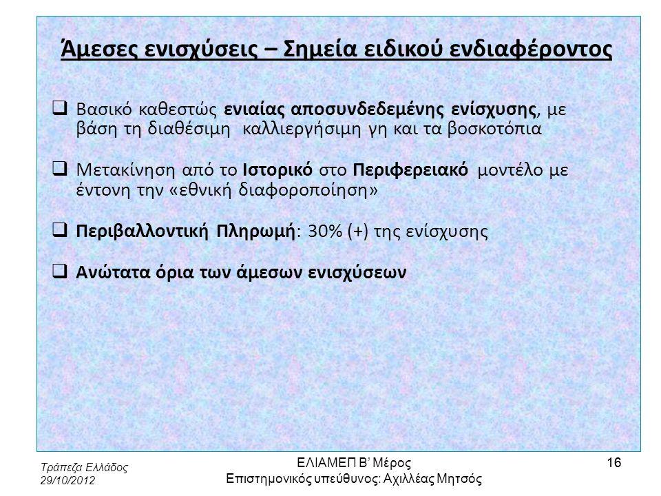 Τράπεζα Ελλάδος 29/10/2012 16 Άμεσες ενισχύσεις – Σημεία ειδικού ενδιαφέροντος  Βασικό καθεστώς ενιαίας αποσυνδεδεμένης ενίσχυσης, με βάση τη διαθέσι