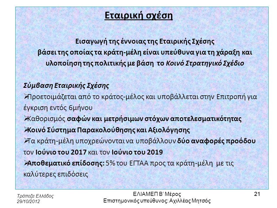 Τράπεζα Ελλάδος 29/10/2012 21 Εταιρική σχέση Εισαγωγή της έννοιας της Εταιρικής Σχέσης βάσει της οποίας τα κράτη-μέλη είναι υπεύθυνα για τη χάραξη και