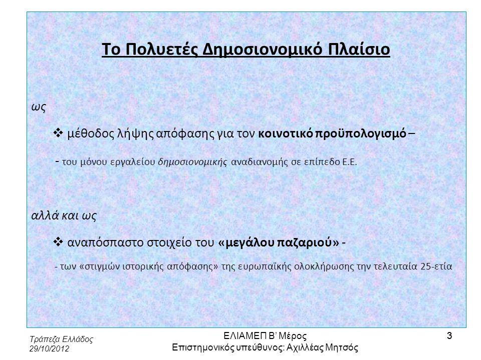 Τράπεζα Ελλάδος 29/10/2012 4 «Δείκτες απόδοσης» και διαπραγματευτική θέση «Δείκτης απόδοσης»: Τι προσδοκά να εισπράξει ένα κράτος-μέλος από την αύξηση του προϋπολογισμού, υπό την προϋπόθεση ότι οι κλείδες κατανομής εσόδων και δαπανών δεν θα μεταβληθούν Δείκτες απόδοσης, σύνολο δαπανών 2007-2010 ΕΛΙΑΜΕΠ Β' Μέρος Επιστημονικός υπεύθυνος: Αχιλλέας Μητσός 4