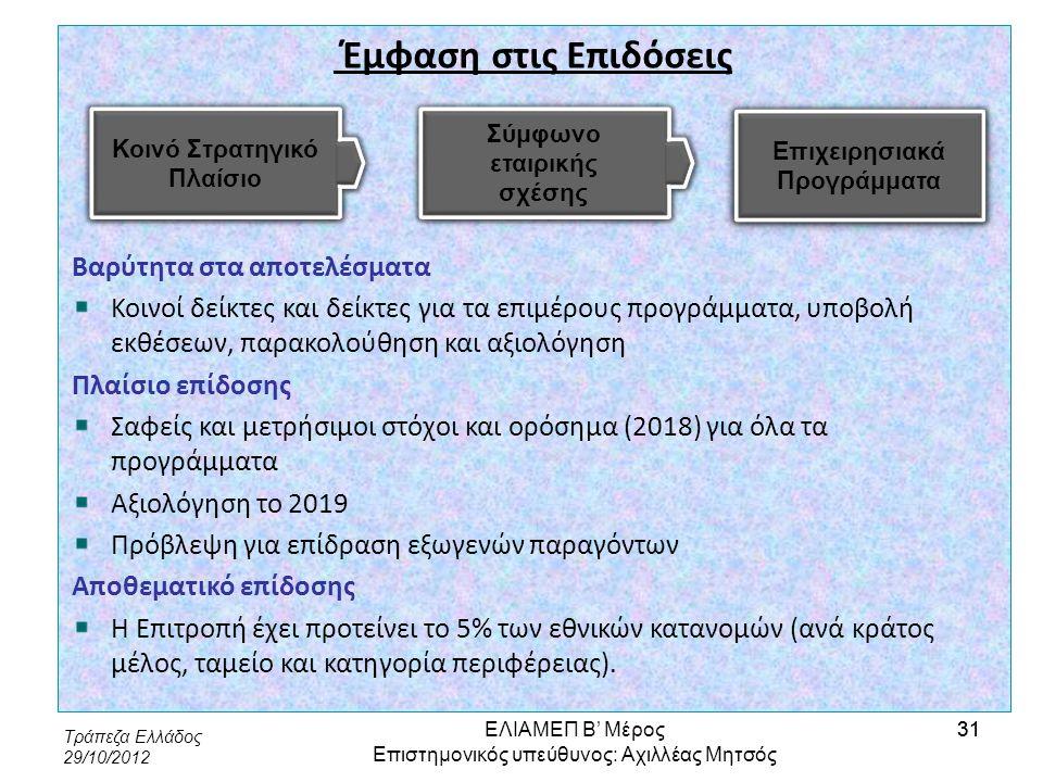 Τράπεζα Ελλάδος 29/10/2012 31 Έμφαση στις Επιδόσεις Βαρύτητα στα αποτελέσματα Κοινοί δείκτες και δείκτες για τα επιμέρους προγράμματα, υποβολή εκθέσεω
