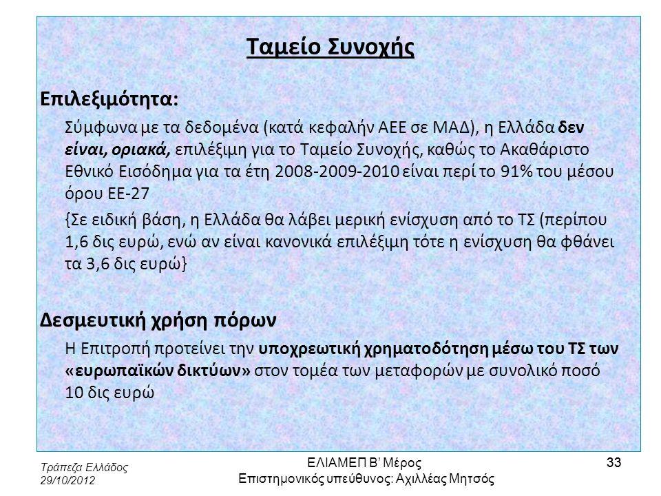 Τράπεζα Ελλάδος 29/10/2012 33 Ταμείο Συνοχής Επιλεξιμότητα: Σύμφωνα με τα δεδομένα (κατά κεφαλήν ΑΕΕ σε ΜΑΔ), η Ελλάδα δεν είναι, οριακά, επιλέξιμη γι