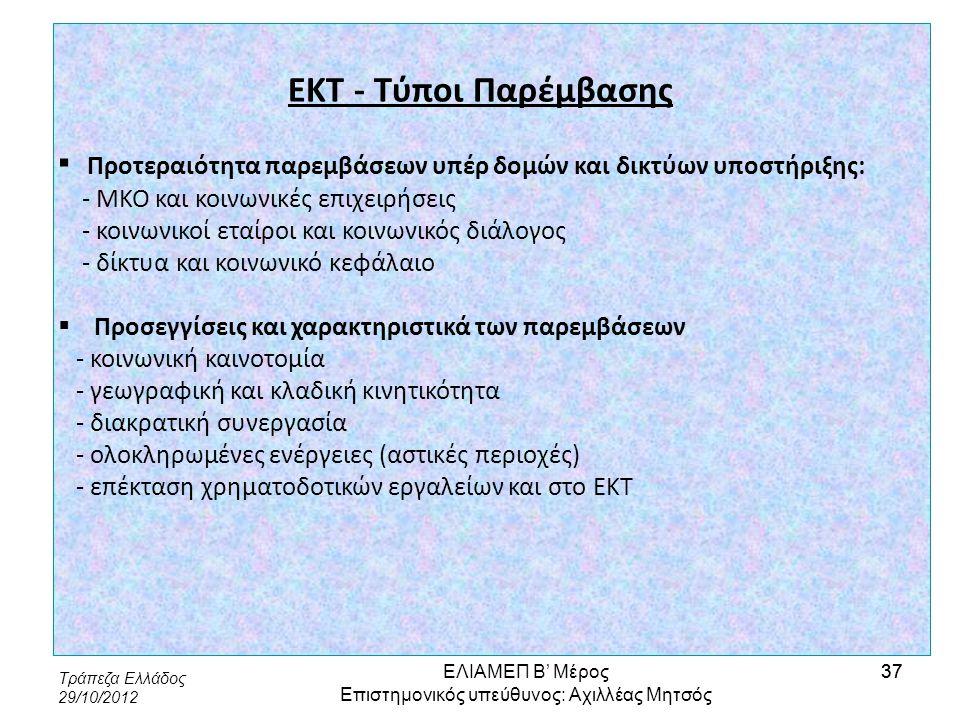 Τράπεζα Ελλάδος 29/10/2012 37 ΕΚΤ - Τύποι Παρέμβασης ▪ Προτεραιότητα παρεμβάσεων υπέρ δομών και δικτύων υποστήριξης: - ΜΚΟ και κοινωνικές επιχειρήσεις