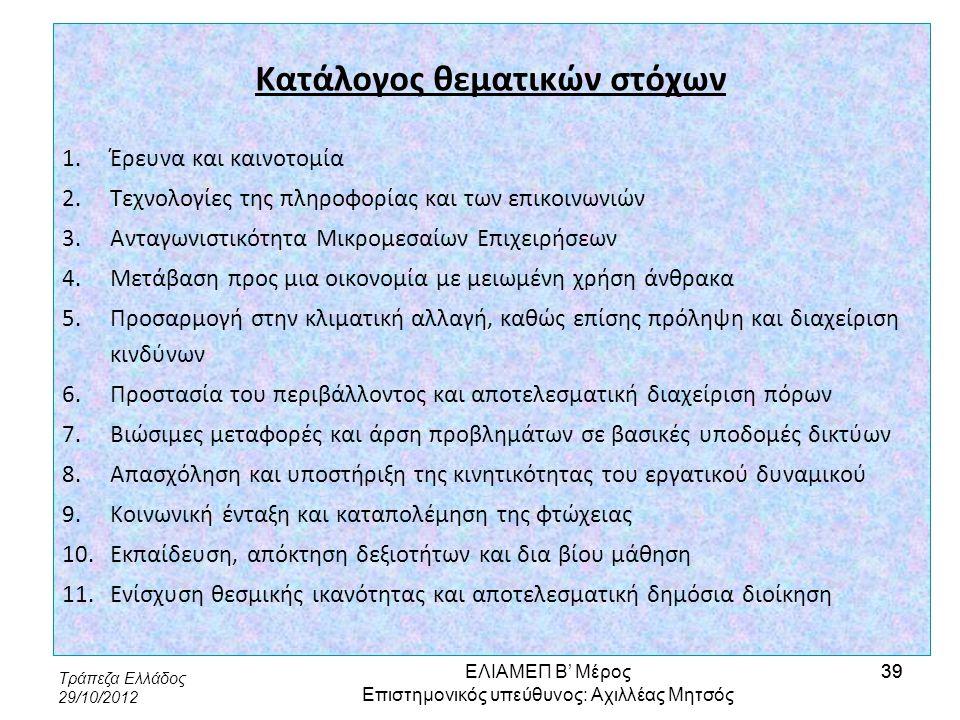 Τράπεζα Ελλάδος 29/10/2012 39 Κατάλογος θεματικών στόχων 1.Έρευνα και καινοτομία 2.Τεχνολογίες της πληροφορίας και των επικοινωνιών 3.Ανταγωνιστικότητ