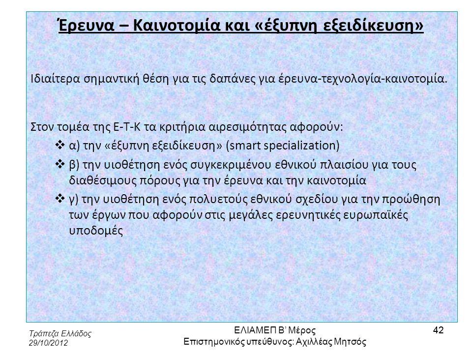 Τράπεζα Ελλάδος 29/10/2012 42 Έρευνα – Καινοτομία και «έξυπνη εξειδίκευση» Ιδιαίτερα σημαντική θέση για τις δαπάνες για έρευνα-τεχνολογία-καινοτομία.