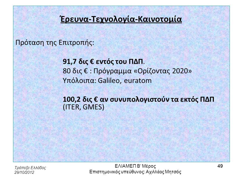 Τράπεζα Ελλάδος 29/10/2012 49 Έρευνα-Τεχνολογία-Καινοτομία Πρόταση της Επιτροπής: 91,7 δις € εντός του ΠΔΠ. 80 δις € : Πρόγραμμα «Ορίζοντας 2020» Υπόλ