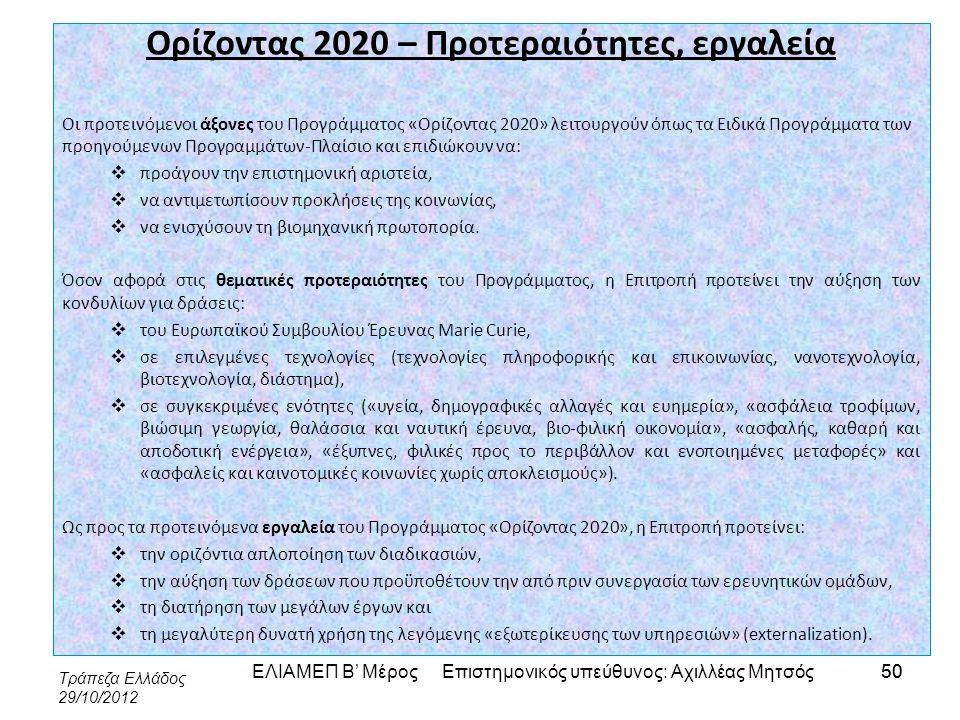 Τράπεζα Ελλάδος 29/10/2012 50 Ορίζοντας 2020 – Προτεραιότητες, εργαλεία Οι προτεινόμενοι άξονες του Προγράμματος «Ορίζοντας 2020» λειτουργούν όπως τα