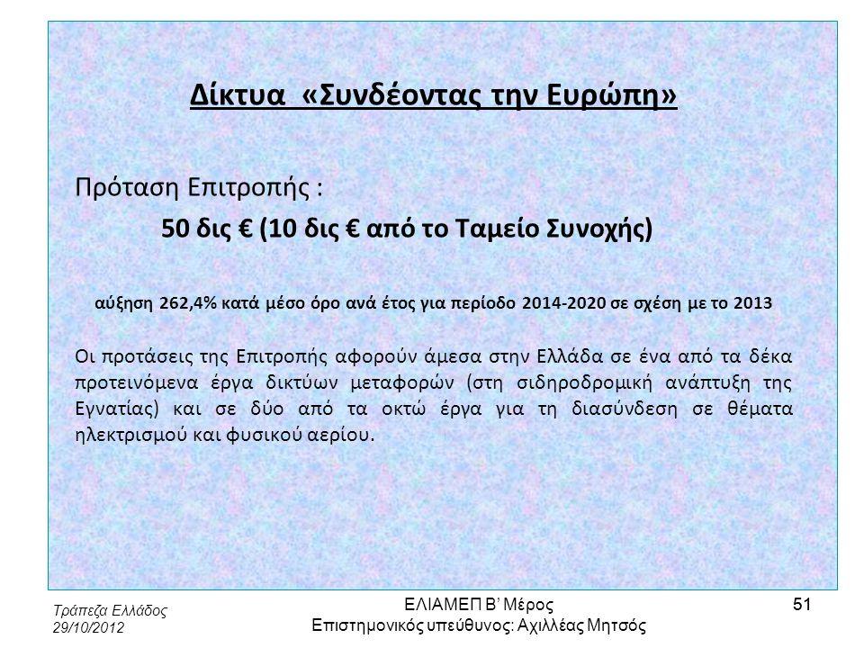 Τράπεζα Ελλάδος 29/10/2012 51 Δίκτυα «Συνδέοντας την Ευρώπη» Πρόταση Επιτροπής : 50 δις € (10 δις € από το Ταμείο Συνοχής) αύξηση 262,4% κατά μέσο όρο