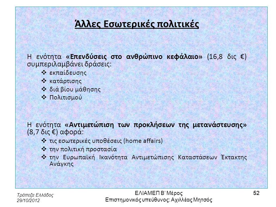 Τράπεζα Ελλάδος 29/10/2012 52 Άλλες Εσωτερικές πολιτικές Η ενότητα «Επενδύσεις στο ανθρώπινο κεφάλαιο» (16,8 δις €) συμπεριλαμβάνει δράσεις:  εκπαίδε