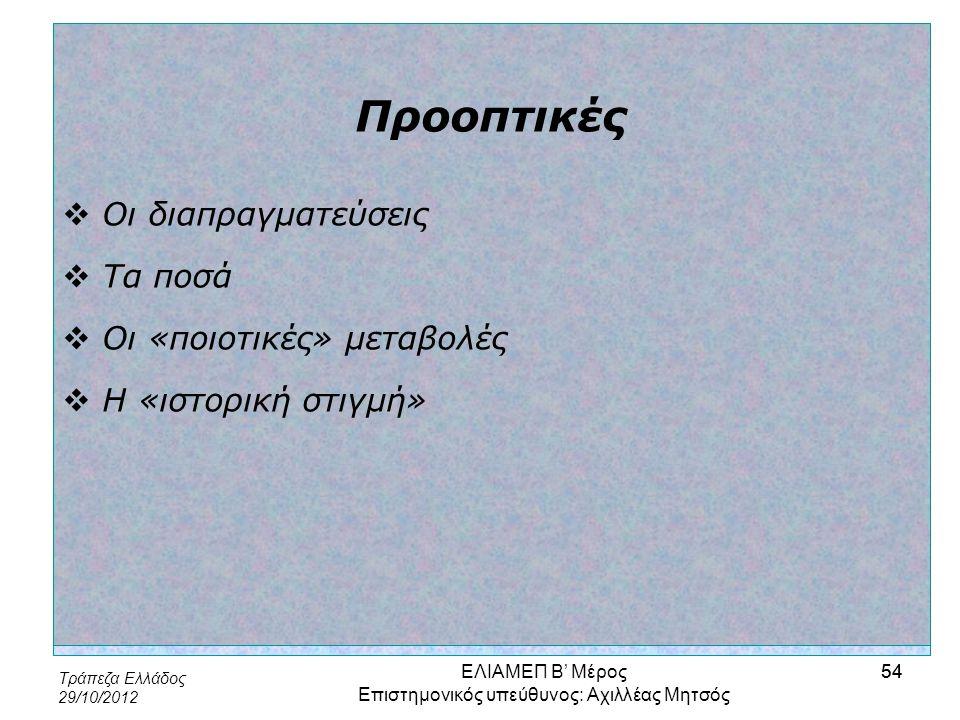 Τράπεζα Ελλάδος 29/10/2012 54 Προοπτικές  Οι διαπραγματεύσεις  Τα ποσά  Οι «ποιοτικές» μεταβολές  Η «ιστορική στιγμή» ΕΛΙΑΜΕΠ Β' Μέρος Επιστημονικ