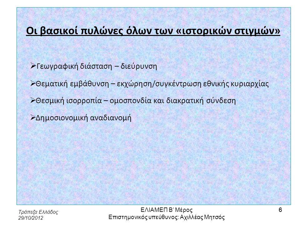Τράπεζα Ελλάδος 29/10/2012 7 Το νέο ΠΔΠ – Συνοπτική παρουσίαση  Περίοδος: 2014-2020  Συνολικό ύψος: ελάχιστη αύξηση ή και μείωση  Έσοδα: Από τη συζήτηση για ριζοσπαστική μεταβολή, προς την πρόταση με τολμηρά, έστω και εν μέρει, βήματα, στην απόφαση - επιστροφή στα ήδη υφιστάμενα  Δαπάνες: «Εξαρτημένη τροχιά», αλλά και σοβαρή αναπροσαρμογή υπέρ της «έρευνας» και των «δικτύων», σε βάρος της «ΚΑΠ» και της «συνοχής» ΕΛΙΑΜΕΠ Β' Μέρος Επιστημονικός υπεύθυνος: Αχιλλέας Μητσός 7