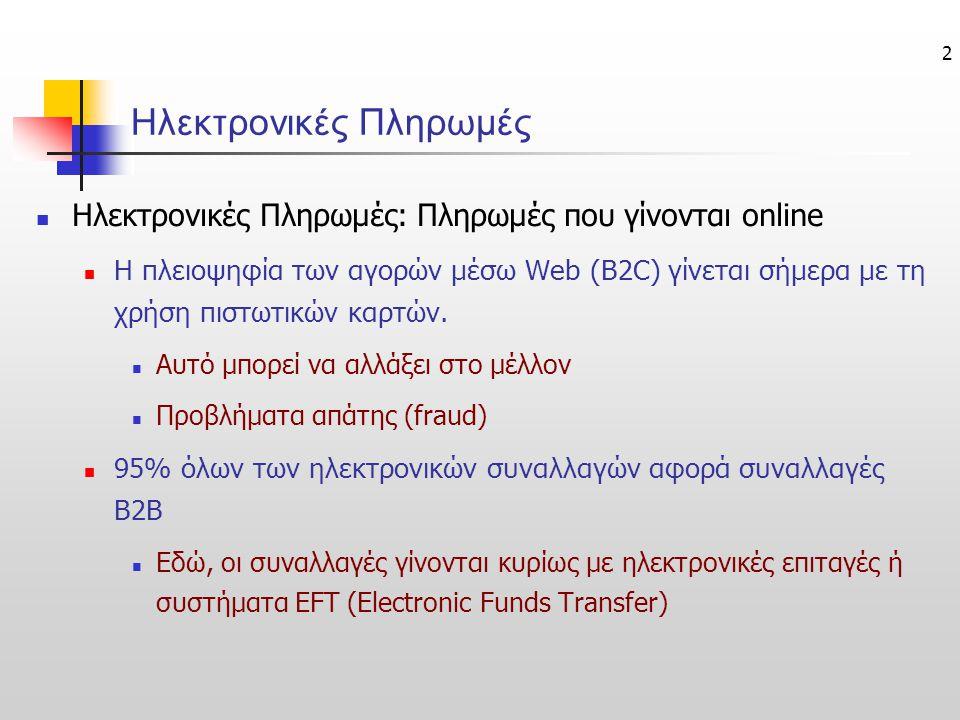 2 Ηλεκτρονικές Πληρωμές  Ηλεκτρονικές Πληρωμές: Πληρωμές που γίνονται online  Η πλειοψηφία των αγορών μέσω Web (B2C) γίνεται σήμερα με τη χρήση πιστ