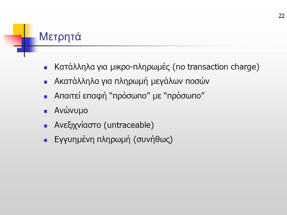 22 Μετρητά  Κατάλληλα για μικρο-πληρωμές (no transaction charge)  Ακατάλληλα για πληρωμή μεγάλων ποσών  Απαιτεί επαφή πρόσωπο με πρόσωπο  Ανώνυμο  Ανεξιχνίαστο (untraceable)  Εγγυημένη πληρωμή (συνήθως)