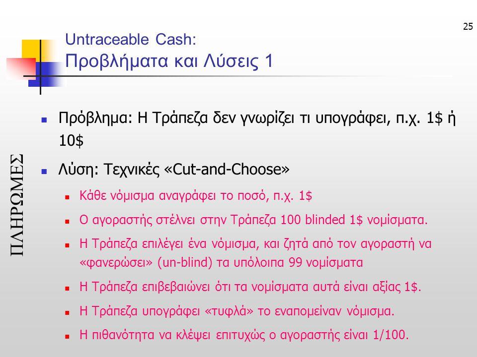25 Untraceable Cash: Προβλήματα και Λύσεις 1  Πρόβλημα: Η Τράπεζα δεν γνωρίζει τι υπογράφει, π.χ. 1$ ή 10$  Λύση: Τεχνικές «Cut-and-Choose»  Κάθε ν