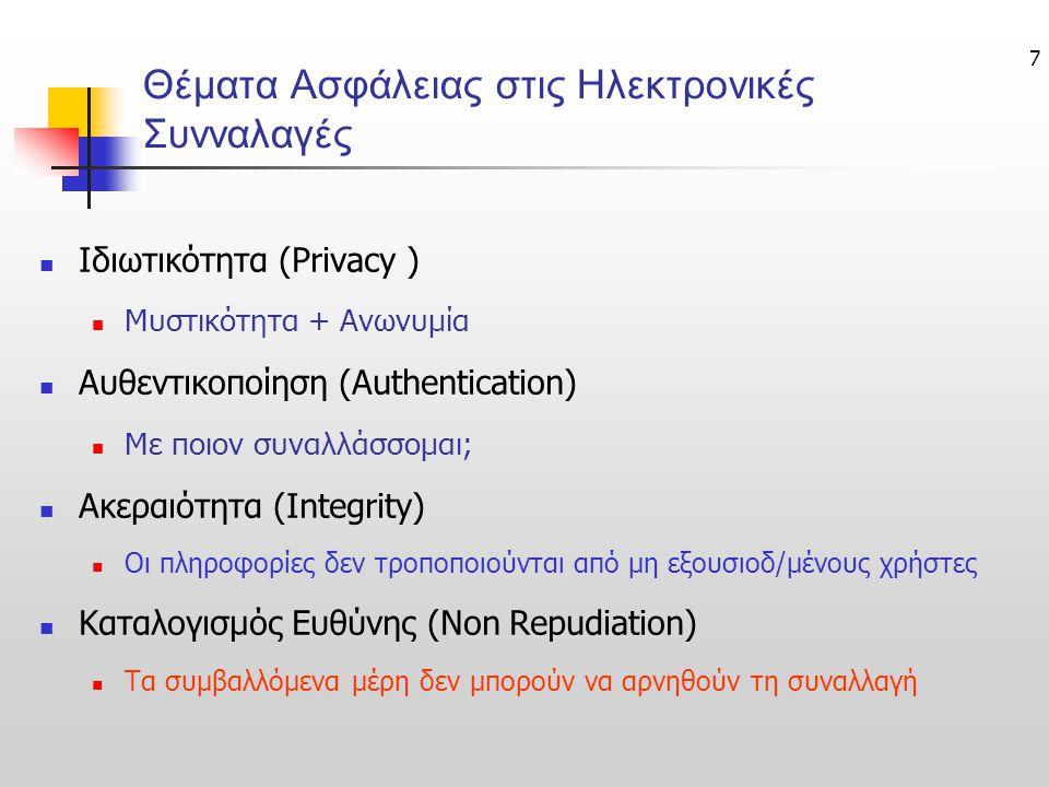 7 Θέματα Ασφάλειας στις Ηλεκτρονικές Συνναλαγές  Ιδιωτικότητα (Privacy )  Μυστικότητα + Ανωνυμία  Αυθεντικοποίηση (Authentication)  Με ποιον συναλλάσσομαι;  Ακεραιότητα (Integrity)  Οι πληροφορίες δεν τροποποιούνται από μη εξουσιοδ/μένους χρήστες  Καταλογισμός Ευθύνης (Non Repudiation)  Τα συμβαλλόμενα μέρη δεν μπορούν να αρνηθούν τη συναλλαγή
