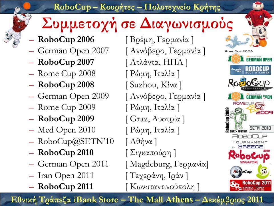 RoboCup – Κουρήτες – Πολυτεχνείο Κρήτης Εθνική Τράπεζα iBank Store – The Mall Athens – Δεκέμβριος 2011 –RoboCup 2006 [ Βρέμη, Γερμανία ] –German Open 2007 [ Αννόβερο, Γερμανία ] –RoboCup 2007 [ Ατλάντα, ΗΠΑ ] –Rome Cup 2008[ Ρώμη, Ιταλία ] –RoboCup 2008 [ Suzhou, Κίνα ] –German Open 2009 [ Αννόβερο, Γερμανία ] –Rome Cup 2009[ Ρώμη, Ιταλία ] –RoboCup 2009 [ Graz, Αυστρία ] –Med Open 2010[ Ρώμη, Ιταλία ] –RoboCup@SETN'10[ Αθήνα ] –RoboCup 2010 [ Σιγκαπούρη ] –German Open 2011[ Magdeburg, Γερμανία] –Iran Open 2011[ Τεχεράνη, Ιράν ] –RoboCup 2011[ Κωνσταντινούπολη ] Συμμετοχή σε Διαγωνισμούς
