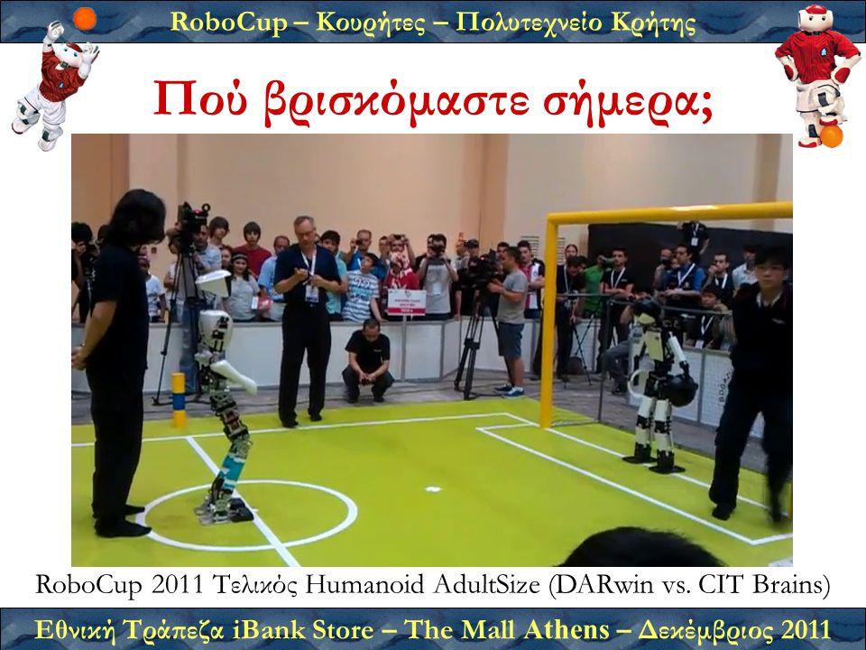 RoboCup – Κουρήτες – Πολυτεχνείο Κρήτης Εθνική Τράπεζα iBank Store – The Mall Athens – Δεκέμβριος 2011 Πού βρισκόμαστε σήμερα; RoboCup 2011 Τελικός Humanoid AdultSize (DARwin vs.