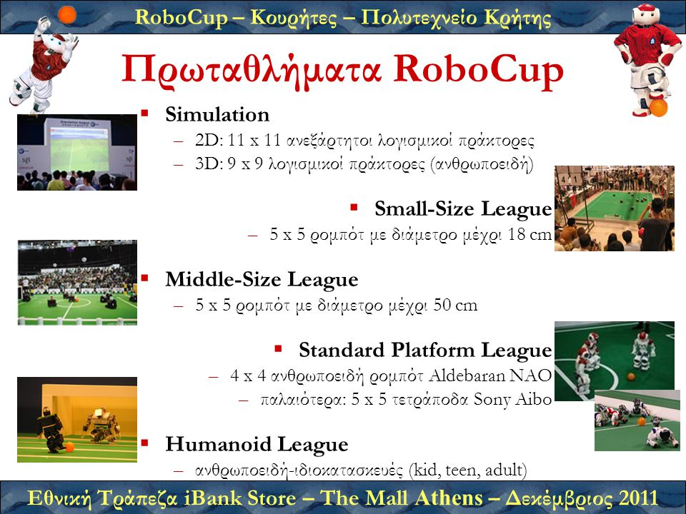 RoboCup – Κουρήτες – Πολυτεχνείο Κρήτης Εθνική Τράπεζα iBank Store – The Mall Athens – Δεκέμβριος 2011 Πρωταθλήματα RoboCup  Simulation –2D: 11 x 11