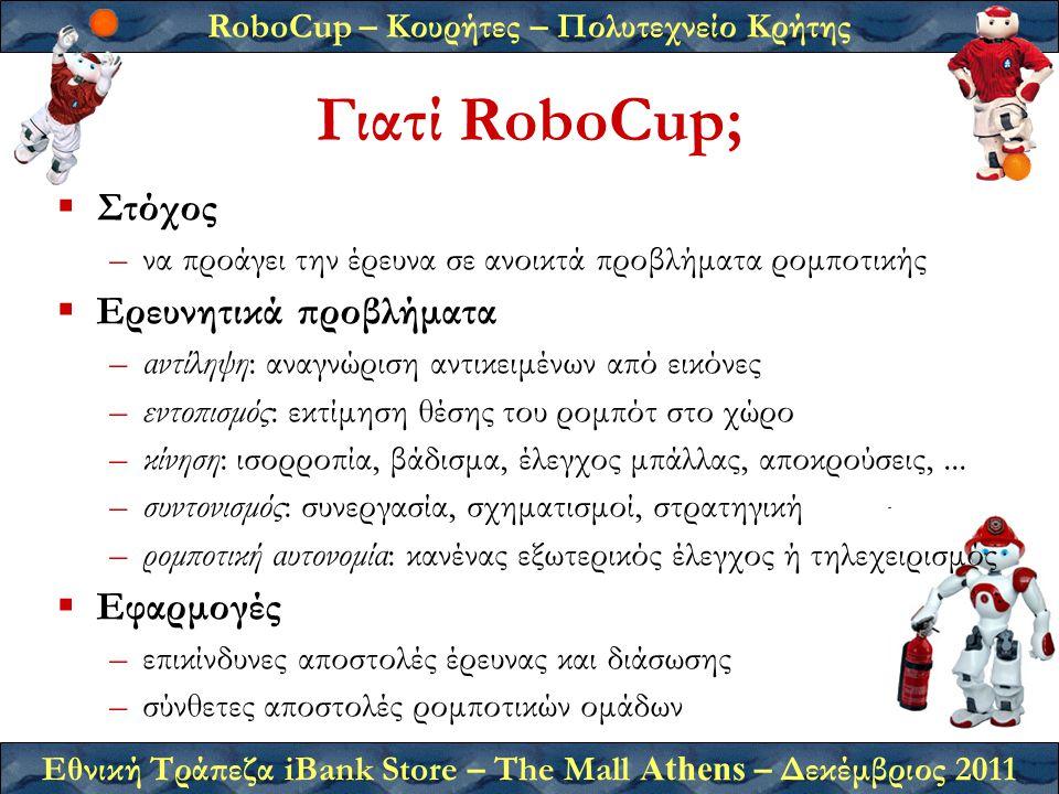 RoboCup – Κουρήτες – Πολυτεχνείο Κρήτης Εθνική Τράπεζα iBank Store – The Mall Athens – Δεκέμβριος 2011 Γιατί RoboCup;  Στόχος –να προάγει την έρευνα σε ανοικτά προβλήματα ρομποτικής  Ερευνητικά προβλήματα –αντίληψη: αναγνώριση αντικειμένων από εικόνες –εντοπισμός: εκτίμηση θέσης του ρομπότ στο χώρο –κίνηση: ισορροπία, βάδισμα, έλεγχος μπάλλας, αποκρούσεις,...