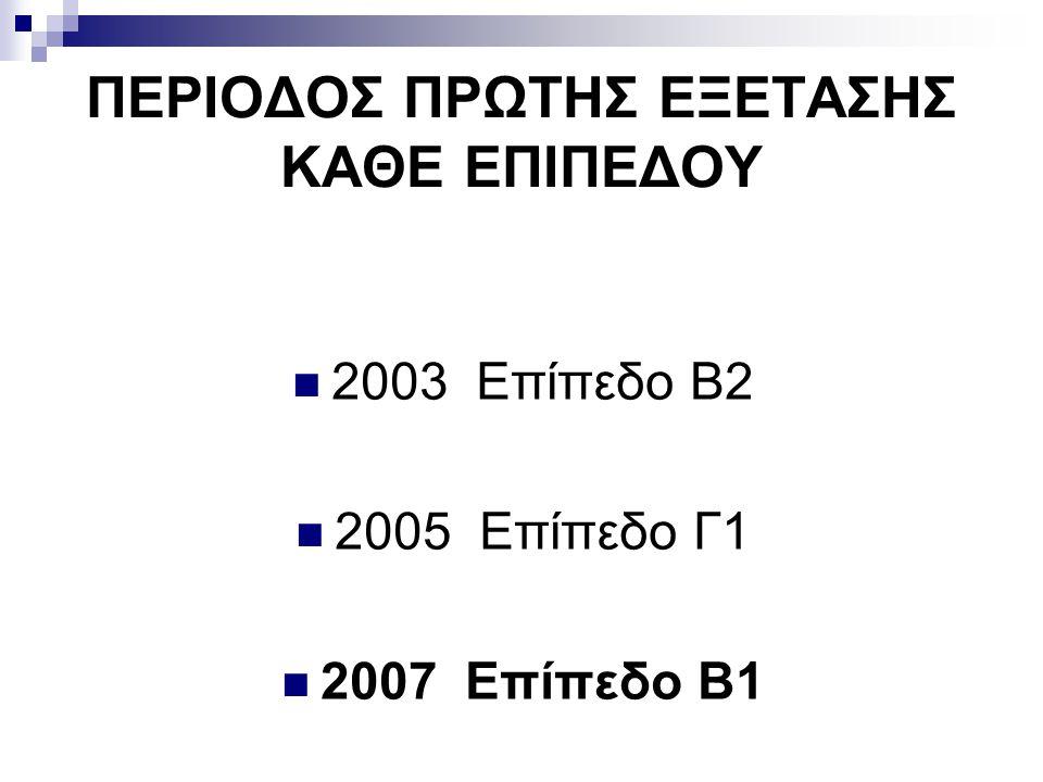 ΠΕΡΙΟΔΟΣ ΠΡΩΤΗΣ ΕΞΕΤΑΣΗΣ ΚΑΘΕ ΕΠΙΠΕΔΟΥ  2003 Eπίπεδο Β2  2005 Επίπεδο Γ1  2007 Επίπεδο Β1