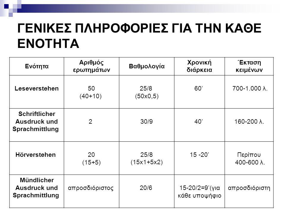 ΓΕΝΙΚΕΣ ΠΛΗΡΟΦΟΡΙΕΣ ΓΙΑ ΤΗΝ ΚΑΘΕ ΕΝΟΤΗΤΑ Ενότητα Αριθμός ερωτημάτων Βαθμολογία Χρονική διάρκεια ΄Εκταση κειμένων Leseverstehen50 (40+10) 25/8 (50x0,5)