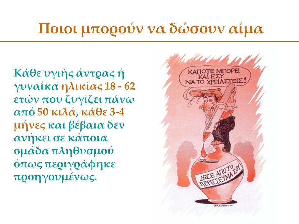 Ποιοι μπορούν να δώσουν αίμα Κάθε υγιής άντρας ή γυναίκα ηλικίας 18 - 62 ετών που ζυγίζει πάνω από 50 κιλά, κάθε 3-4 μήνες και βέβαια δεν ανήκει σε κά