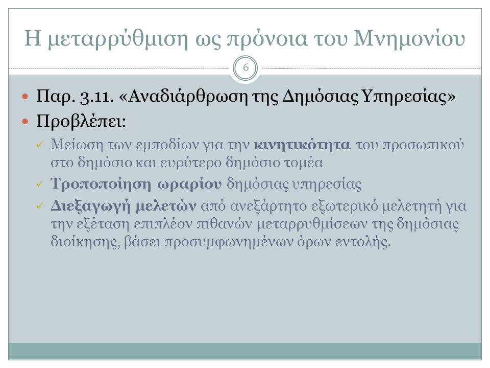 Η μεταρρύθμιση ως πρόνοια του Μνημονίου  Παρ. 3.11.