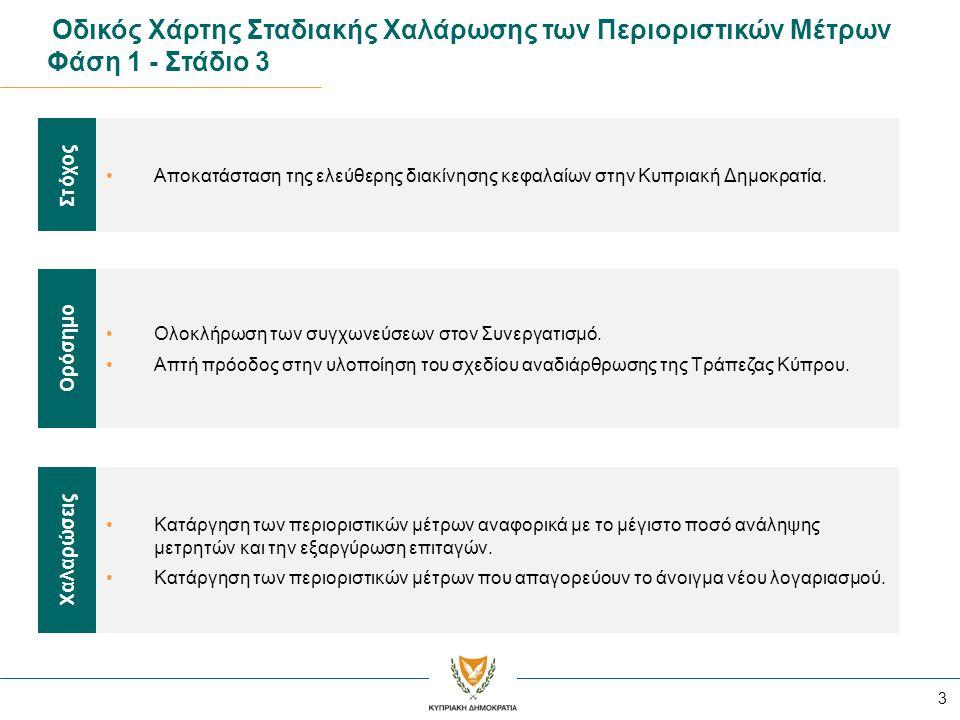 3 Οδικός Χάρτης Σταδιακής Χαλάρωσης των Περιοριστικών Μέτρων Φάση 1 - Στάδιο 3 •Αποκατάσταση της ελεύθερης διακίνησης κεφαλαίων στην Κυπριακή Δημοκρατία.
